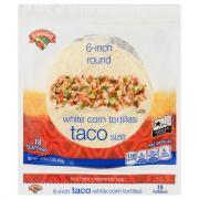 Hannaford 6 Inch Round White Corn Tortillas Taco Size