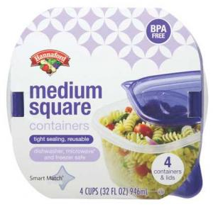 Hannaford Medium Square 32 Oz. Containers With Lids