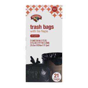 Hannaford 30 Gallon Trash Bags with Tie Flaps