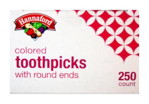Hannaford Colored Toothpicks Square With Round Ends