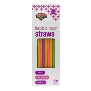 Hannaford Flexible Neon Straws