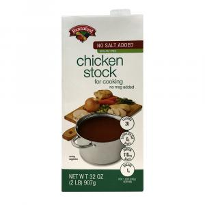 Hannaford No Salt Added 99% Fat Free Chicken Stock