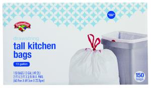Hannaford Drawstring Tall Kitchen Trash Bags 13 Gallon