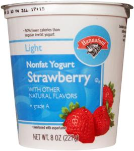 Hannaford Light Nonfat Strawberry Yogurt