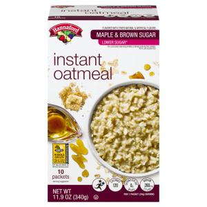 Hannaford Low Sugar Maple Brown Sugar Instant Oatmeal