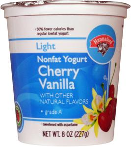 Hannaford Light Nonfat Cherry Vanilla Yogurt