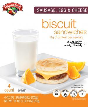 Hannaford Sausage, Egg & Cheese Biscuit Sandwiches