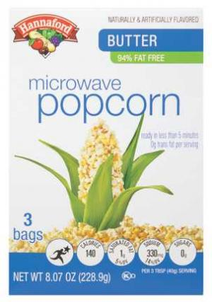 Hannaford 94% Fat Free Butter Microwave Popcorn