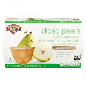 Hannaford Diced Pears in 100% Fruit Juice Bowls