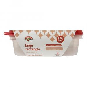 Hannaford Disposable Containers Large Rectangle 76 Oz.