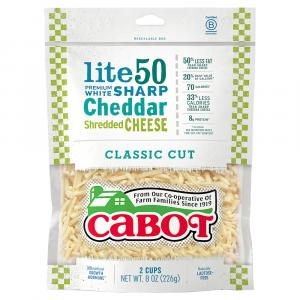 Cabot 50% Light Cheddar Shredded Cheese