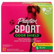 Playtex Sport Odor Shield Regular & Super Unscented Tampons