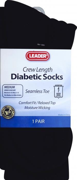 Leader Diabetic Socks Crew Medium Black