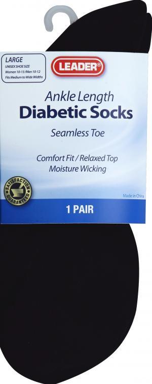 Leader Diabetic Socks Ankle Large Black