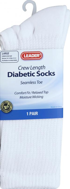 Leader Diabetic Socks Crew Large White