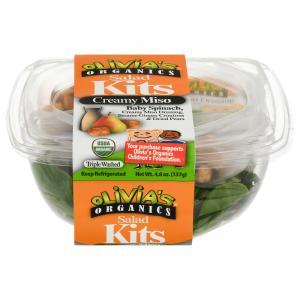Olivia's Organics Creamy Miso Baby Spinach Salad Kit