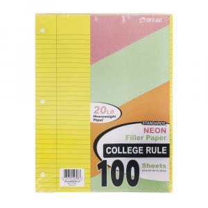 Top Flight College Ruled Neon Filler Paper