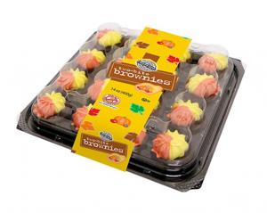 Two-Bite Brownies with Yellow Frosting & Flower Sprinkles