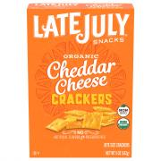 Late July Organic Bite Size Cheddar Crackers Box