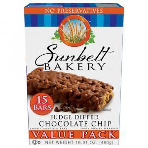 Sunbelt Value Pack Fudge Dipped Chocolate Chip Granola Bars