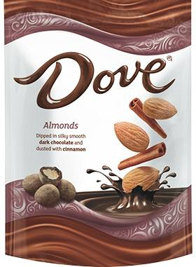 Dove Almonds Dipped In Dark Chocolate Cinnamon Dusted