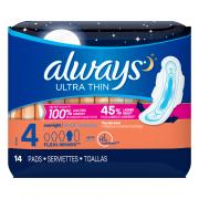 Always Ultra Thin Overnight Maxi Pads w/Wings
