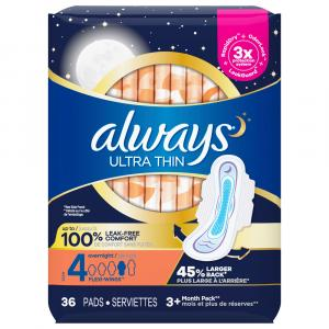 Always Ultra Thin Overnight Pads with Wings Size 4