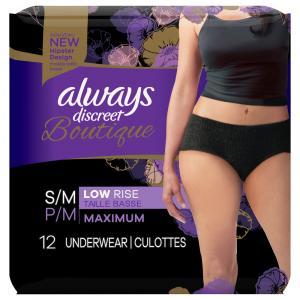 Always Discreet Boutique Black Low Rise Underwear