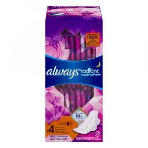 Always Radiant Overnight Pad With Wings