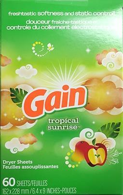 Gain Tropical Sunrise Dryer Sheets
