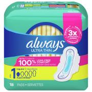 Always Ultra Thin Regular Maxi Pads w/Wings