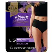 Always Discreet Boutique Black Low Rise Underwear Large