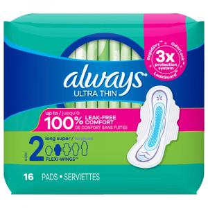 Always Ultra Thin Long Super Maxi Pads With Wings