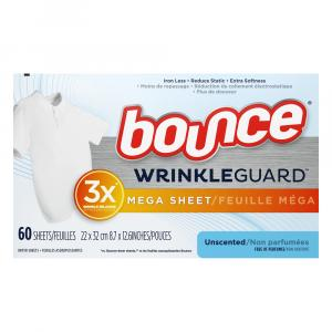 Bounce Wrinkle Guard Fabric Softener Dryer Sheets Unscented