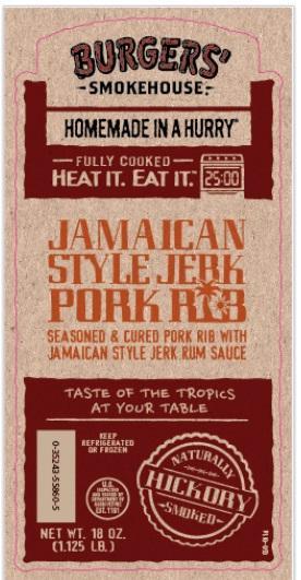 Burgers Smokehouse Jamaican Jerk St Louis Pork Ribs 1/2 Rack