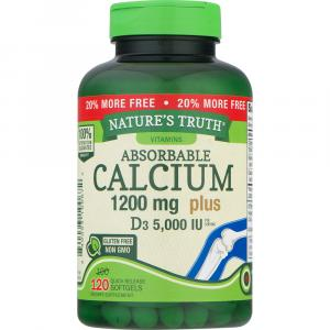 Nature's Truth Calcium 1200mg + D3 5000 IU Bonus SoftGels