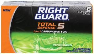 Right Guard Total Defense 5-in-1 Deodorizing Soap Refreshing