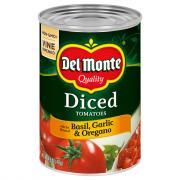 Del Monte Diced Tomatoes Basil Garlic Oregano