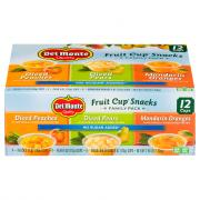 Del Monte Family Pack Variety Fruit Cup Snack No Sugar Added