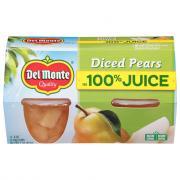 Del Monte Diced Pear in 100% Juice Fruit Cups