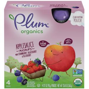 Plum Organics Applesauce Strawberry, Blackberry, Blueberry