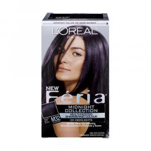 L'Oreal Feria #M32 Shimmering Violet Soft Black Hair Color