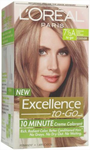 L'oreal Excellence To Go 7.5a Medium Ash Blonde Hair Color