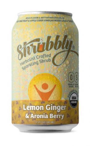 Shrubbly Organic Lemon Ginger & Aronia Berry Sparkling Shrub
