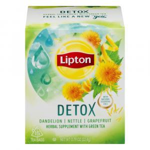 Lipton Detox Herbal Supplement Green Tea Bags
