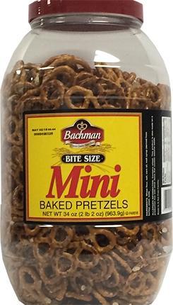 Bachman Bite Size Mini Baked Pretzel Barrel
