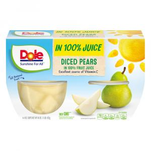 Dole Diced Pears Bowls in 100% Juice
