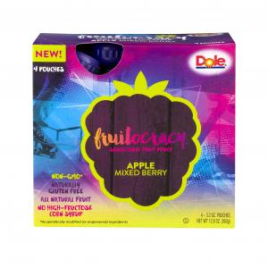 Dole Fruitocracry Squeezable Fruit Pouch Apple & Mixed Berry