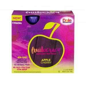 Dole Fruitocracy Squeezable Fruit Pouch Apple Cherry