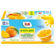 Dole Diced Peaches in 100% Fruit Juice Fruit Cups